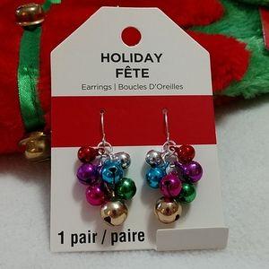 Jingle Bells Dangle Earrings Holiday Christmas